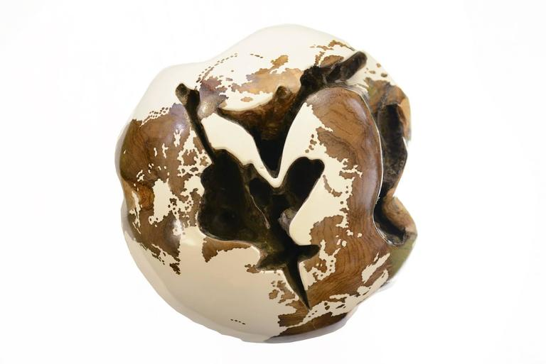 Contemporary Globe Made in Teak Root in White Finish on Rotative Base For Sale