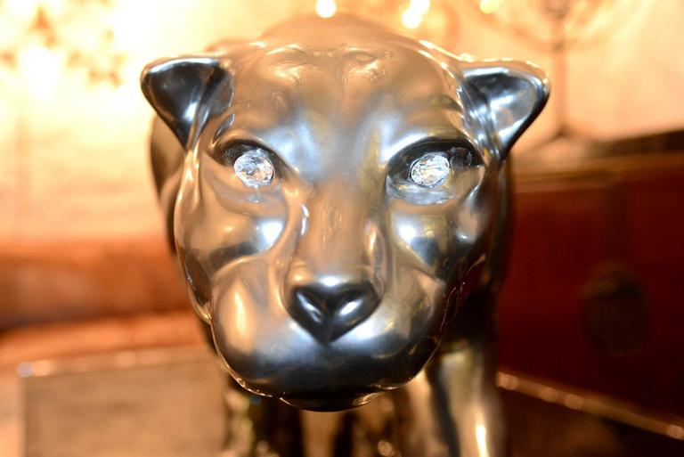 Panther Sculpture Resin Metal Matt Finish Eyes in SWAROVSKI Crystal In Excellent Condition For Sale In Paris, FR