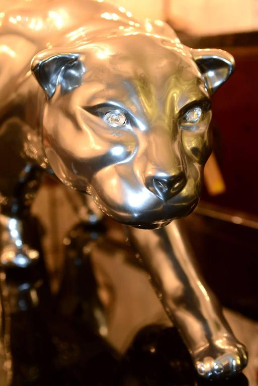 Contemporary Panther Sculpture Resin Metal Matt Finish Eyes in SWAROVSKI Crystal For Sale