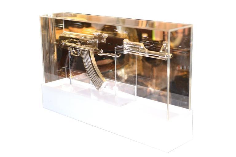 Dutch AK-47 in Silver Finish Art Sculpture Demilitarized For Sale