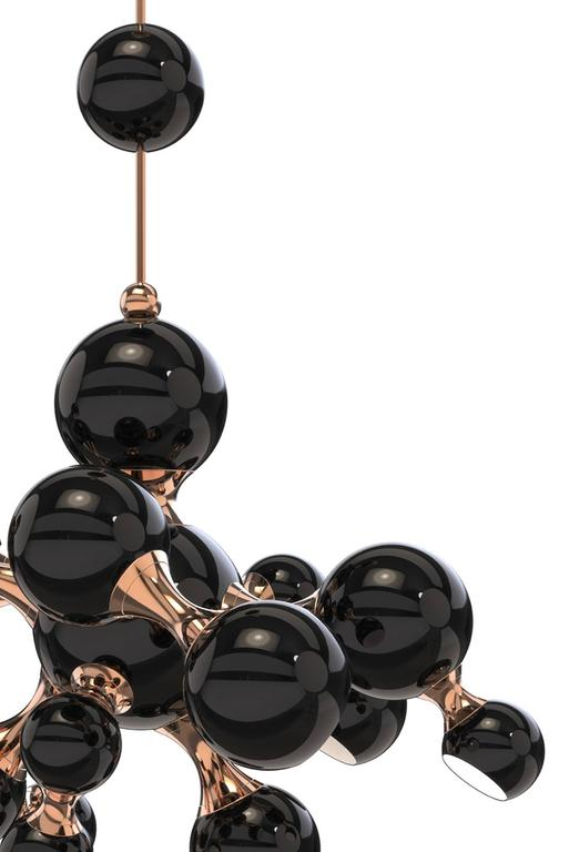 Portuguese Chandelier Black Pearl with Aluminium and Brass Structure Made in 2016 For Sale