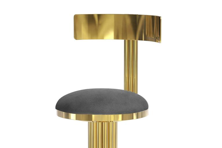 Bar Stool Casablanca In Golded Polished Brass And Genuine