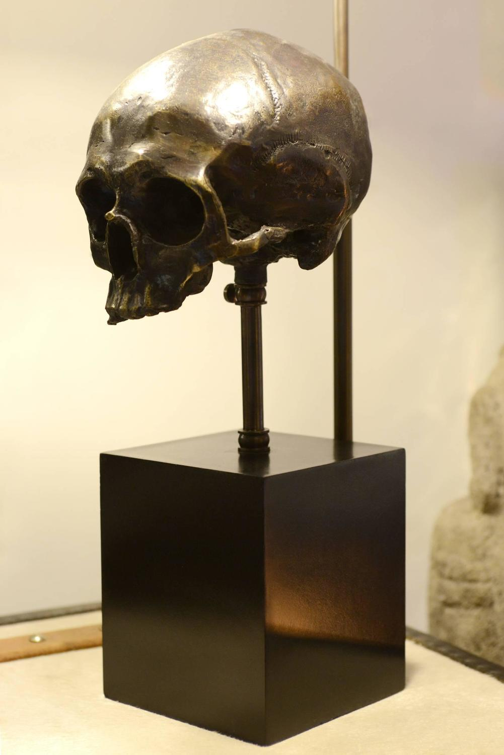 Lamp Skull In Brass With Black Transparent Shade And Skull
