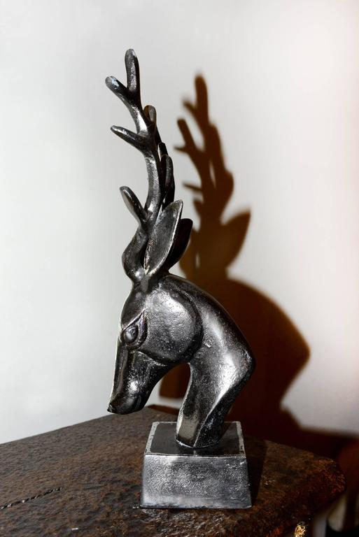 French Trophy Dear Hunter in Iron on Base For Sale