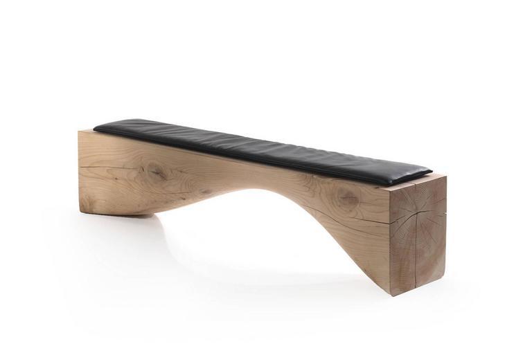 Italian Bench Line in Solid Cedar Wood For Sale