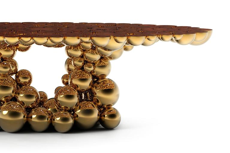 Portuguese Spheres Golded Dining Table with Aluminium Gold Sphere For Sale