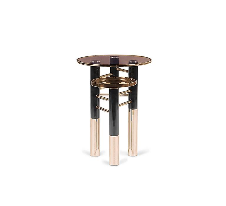 United Side Table In Stainless Steel Brass And Brown Glass