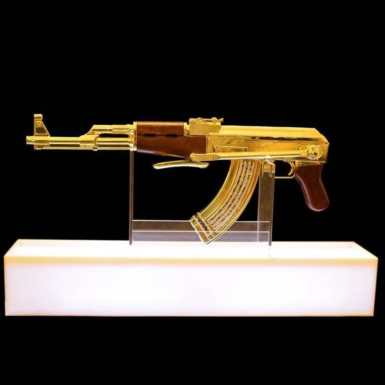 ak 47 gold numbered and limited edition art sculpture demilitarized at 1stdibs. Black Bedroom Furniture Sets. Home Design Ideas