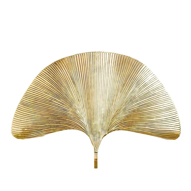 Ginko Biloba Wall Lamp in Polished Brass For Sale at 1stdibs
