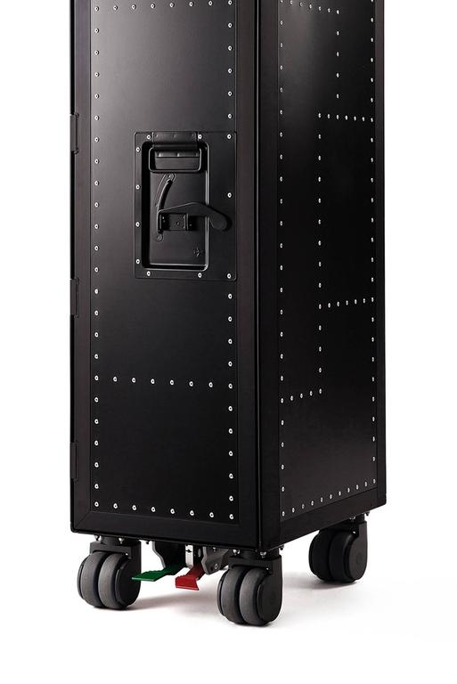 French Black Rivet Aircraft Bar Trolley For Sale