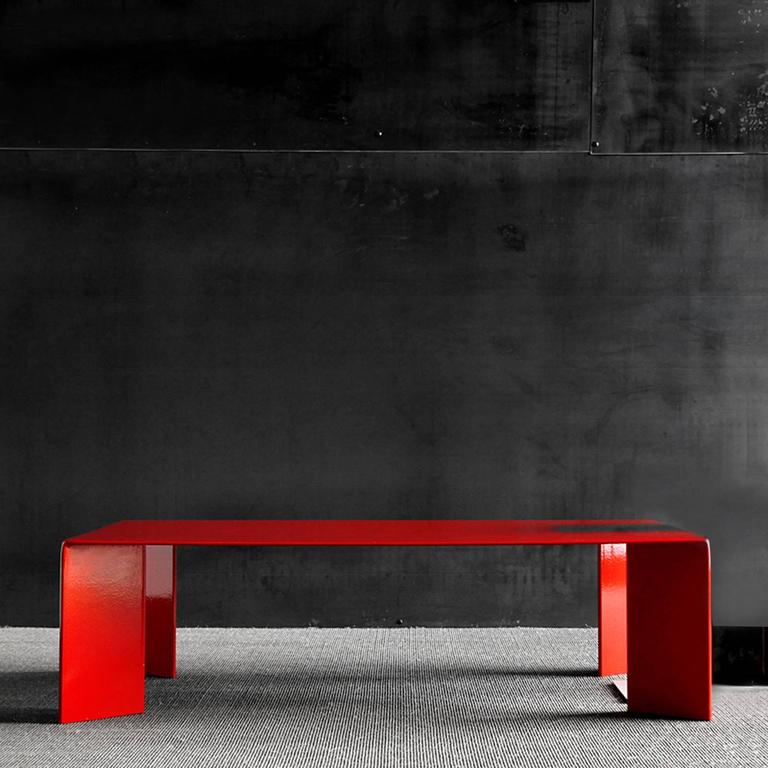Coffee table Laqué Rouge in steel, French manufacture, red lacquered, custom made available. Available in dark finish or other colors. L100xP100xH35cm, Ref: 147-700D62, price: € 2,900.00 L125xP80xH35cm, Ref: 147-730D63, price: €