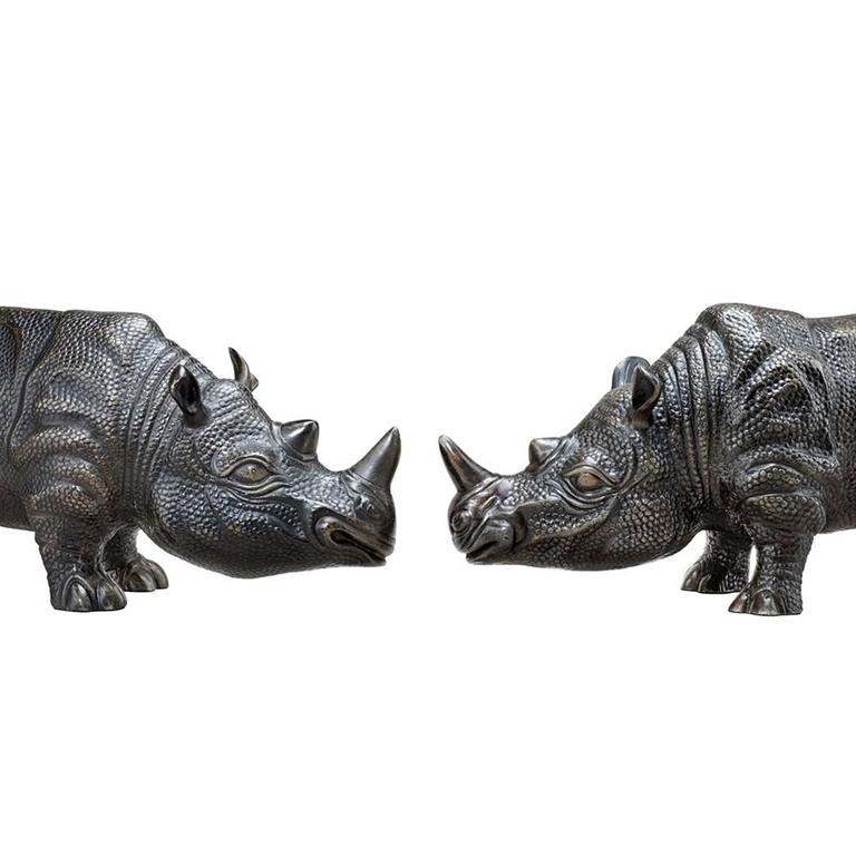 Rhino Set of Two Sculptures in Bronze For Sale 1