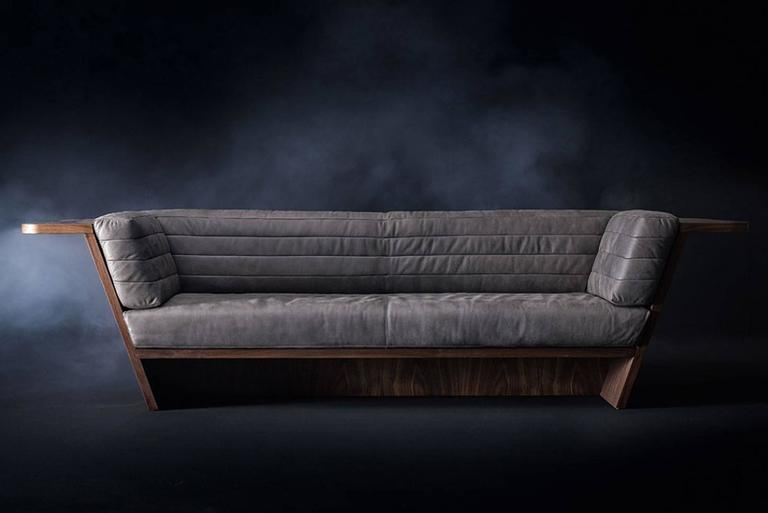 Sofa Racing with grey Swedish genuine leather made 