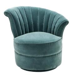 Wing Chair Right With Turquoise Or Black Velvet Fabric