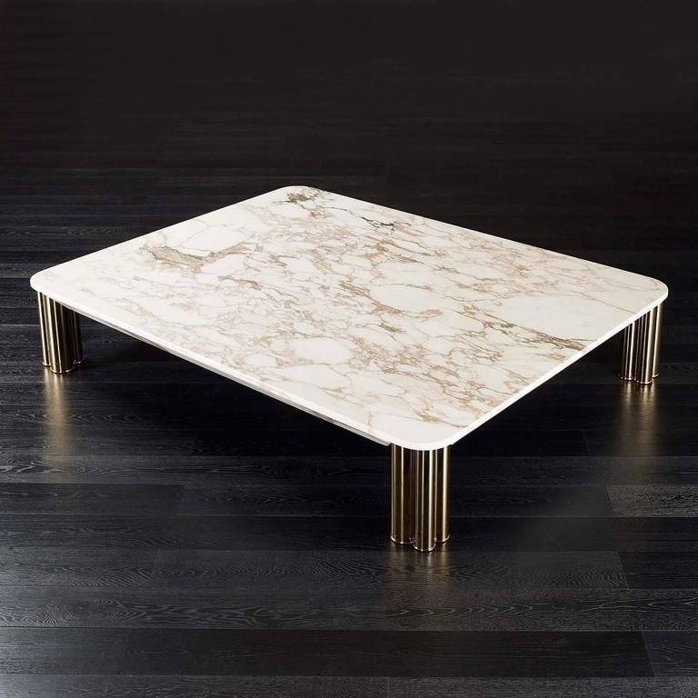 Coffee table ambra with Calacatta Oro marble top and polished brass feet, bronze feet or black chrome feet.  L 160 x D 110 x H 33cm, Price: 19500,00€ Also available in: L 110 x D 110 x H 33cm, Price: 14900,00€ L 140 x D 140 x H 33cm, Price: