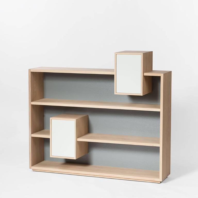 Shelve functional 100% solid French raw oak, from sustainable forests, France. With grey back and two white doors. Back and  doors colors can be selected in different colors, on request.  From Anjou in France. Available in raw oak, price:
