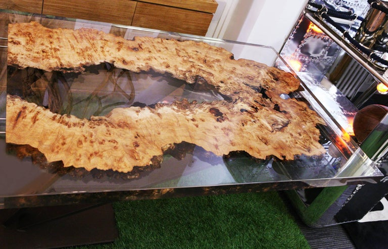 Metal Elm Wood and Resin Dining or Conference Table For Sale