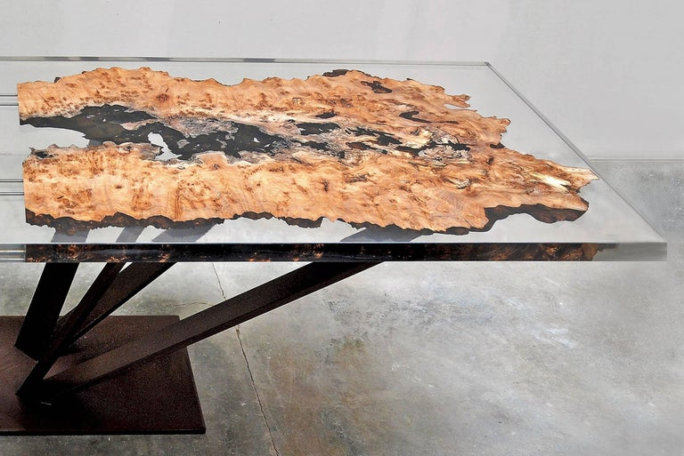Forged Elm Wood and Resin Dining or Conference Table For Sale