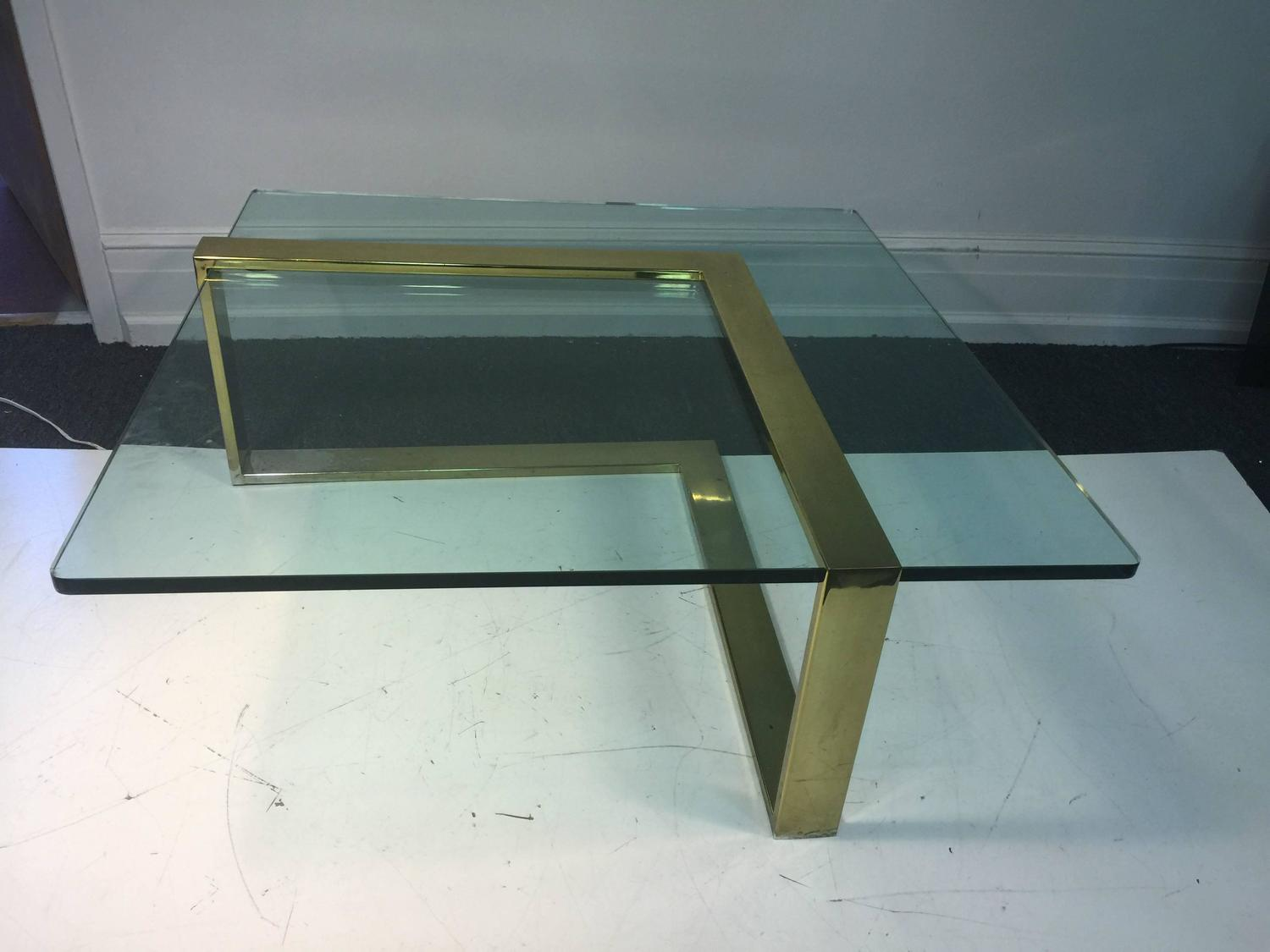 Sensational L Shape Coffee Cocktail Table In Brass By Pace Collection For Sale At 1stdibs
