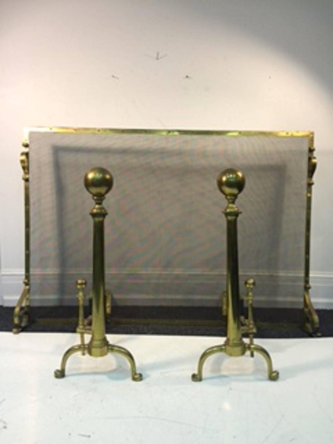 Exceptional Giant Brass Fireplace Screen With Andirons For Sale At 1stdibs