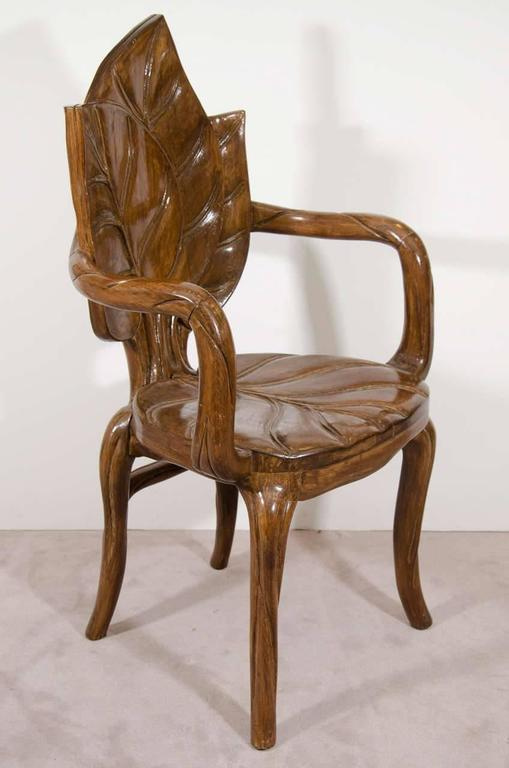 Beautiful pair of sculptural carved leaf motif armchairs for Art nouveau chaise