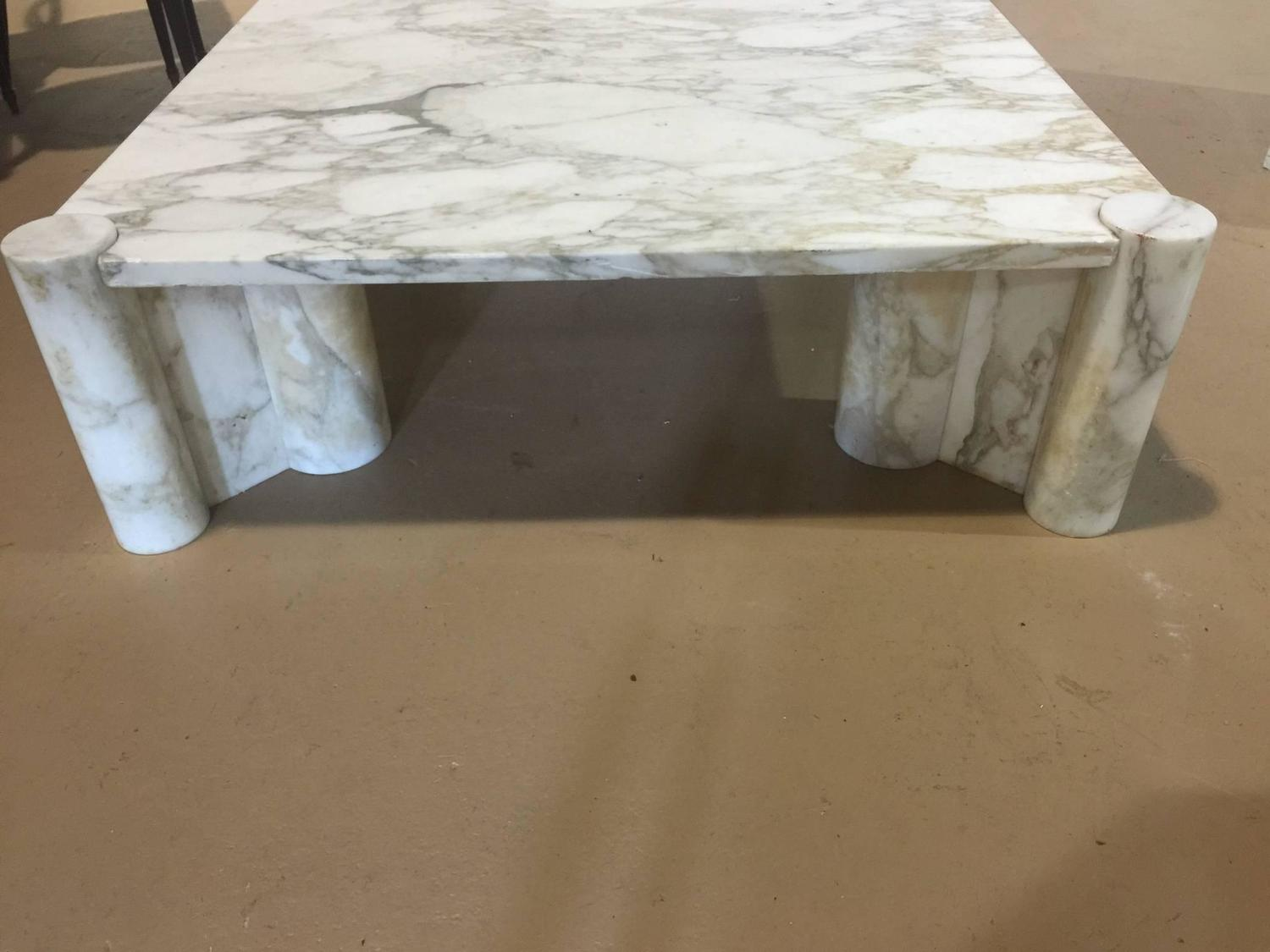 Exceptional Italian Carrara Marble Coffee Table By Gae Aulenti For Sale At 1stdibs