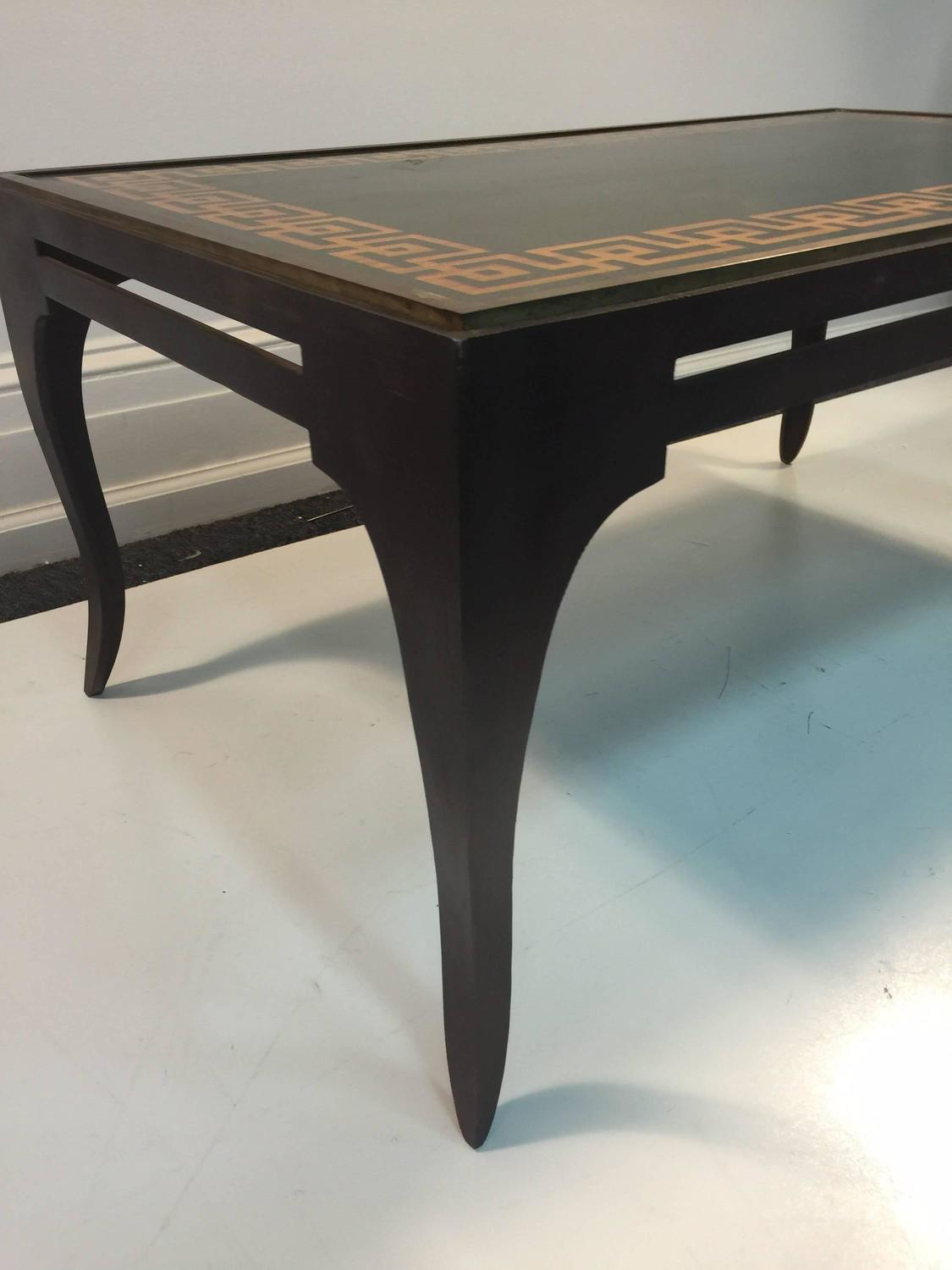 Handsome Hand Painted Coffee Table In The Manner Of Tommi Parzinger For Sale At 1stdibs