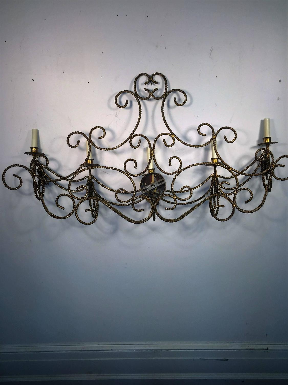 Monumental Pair of High End Italian Gilt Rope and Tassle Design Sconces For Sale at 1stdibs