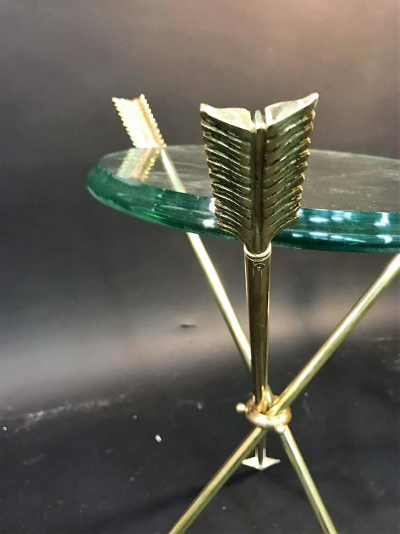 Stunning Pair of Brass Arrow Tripod Tables in the Manner of Maison Jansen