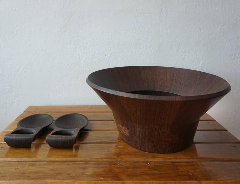Wenge Dansk Rare Woods Bowl and Tongs by Jens Quistgaard For Sale 2