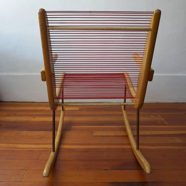 Red Rocking Chair Billy Strings ~ Modernist string wood and iron rocking chair by carl koch
