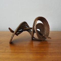 Organic Modern Pine Needle and Wood Sculpture