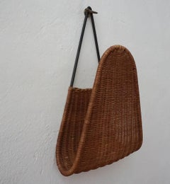 1950s French Iron and Wicker Wall Hung Magazine Holder