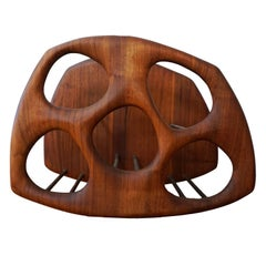 Sculptural Walnut Wall-Mounted Wine Holder by Dean Santner