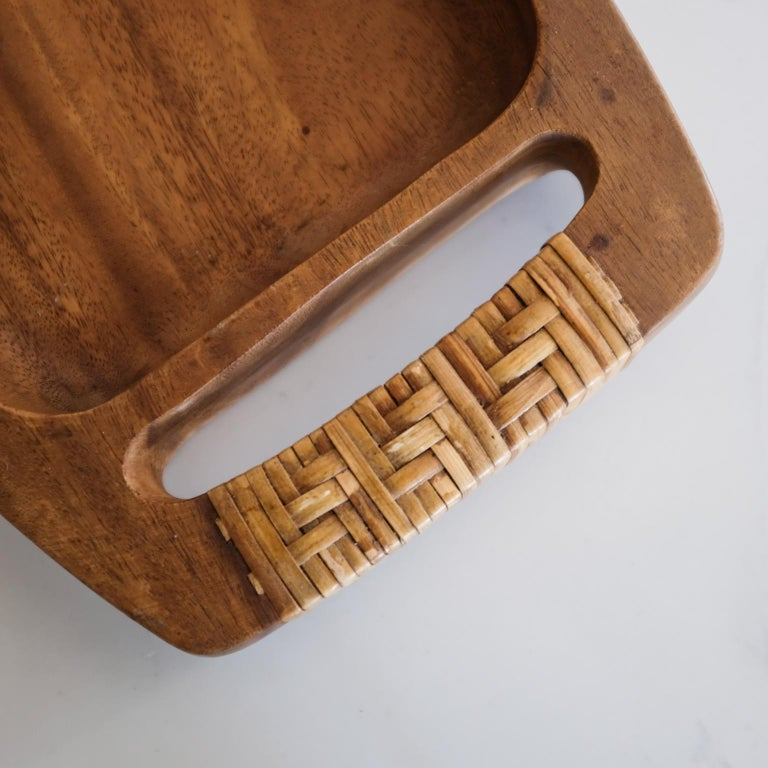 Mid-Century Modern Cane Wrapped Wood Tray or Catch All For Sale