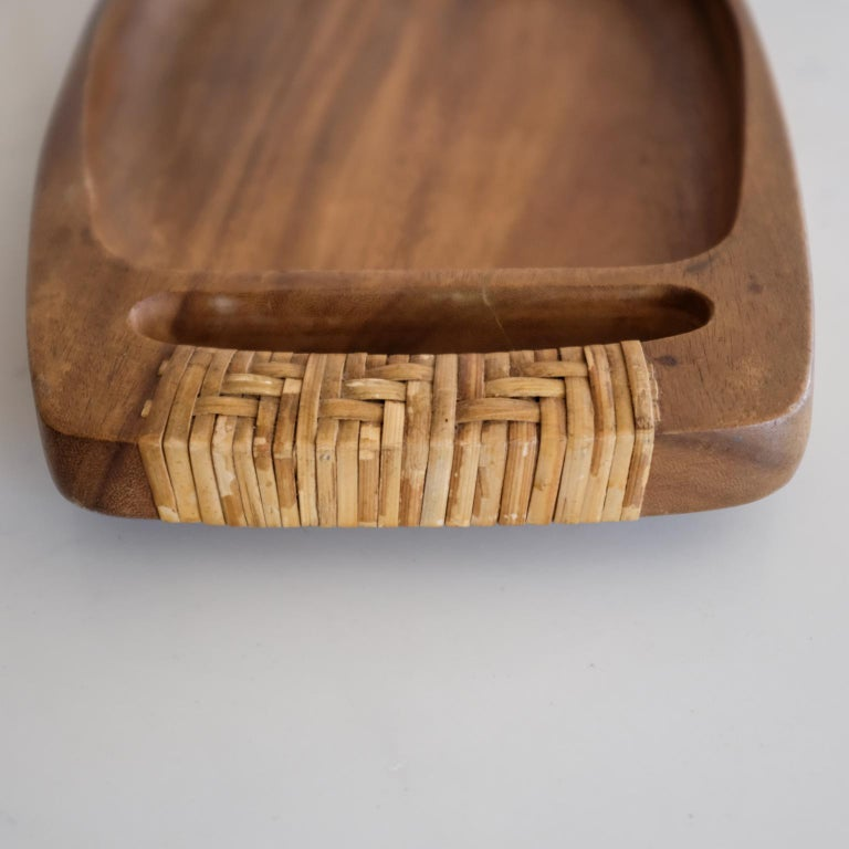Unknown Cane Wrapped Wood Tray or Catch All For Sale