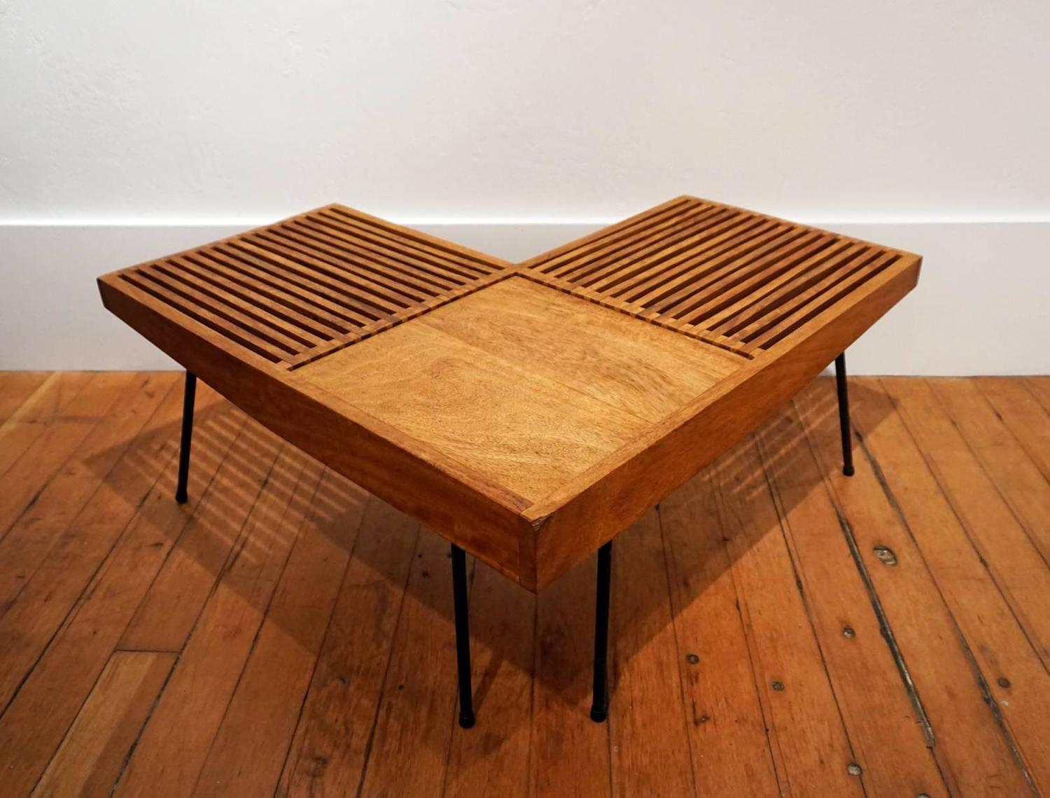 1950s Mahogany And Iron Corner L Shaped Slat Table Or Bench At 1stdibs. Full resolution‎  picture, nominally Width 1500 Height 1140 pixels, picture with #401808.