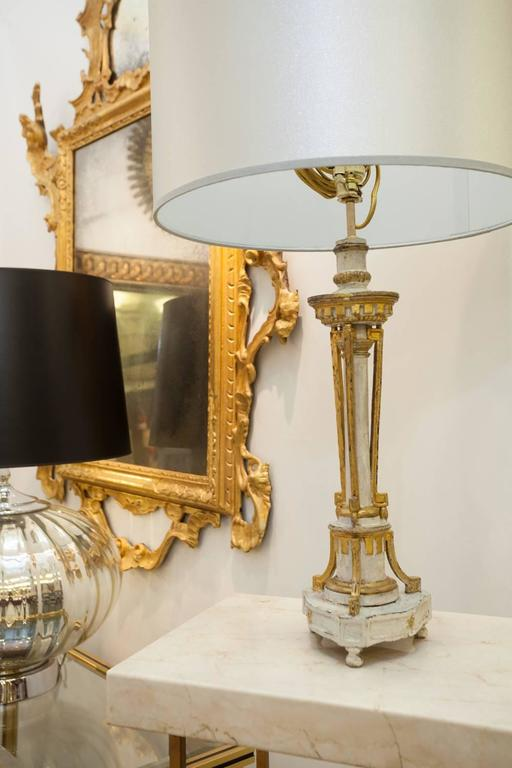 Portuguese Carved Giltwood and 'Blanc de Roi' Painted Candlestick;  Mounted as a Lamp For Sale