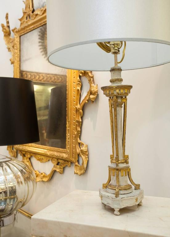 Carved Giltwood and 'Blanc de Roi' Painted Candlestick;  Mounted as a Lamp For Sale 1