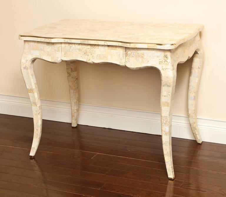 Tesselated Stone And Brass Vintage Desk By Maitland Smith
