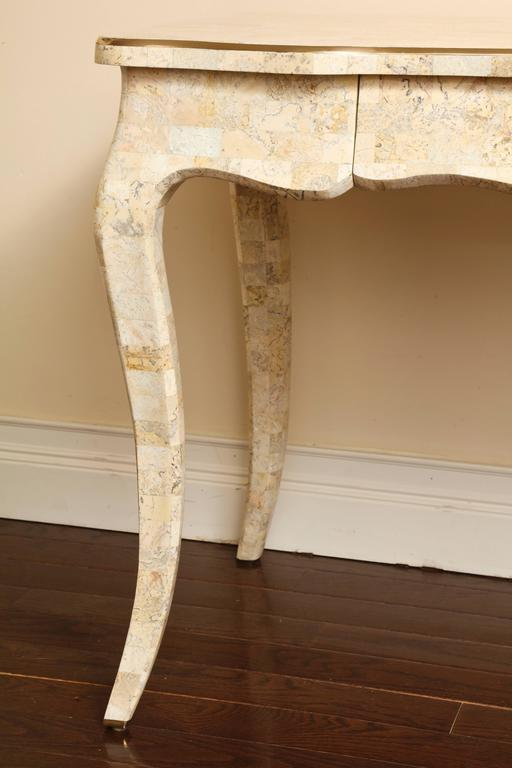 Tesselated Stone and Brass Vintage Desk by Maitland Smith with Single Drawer For Sale 2