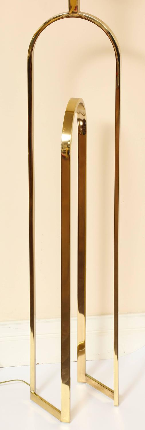 Brass Modern Double Arched Form 1970s Standing Floor Lamp