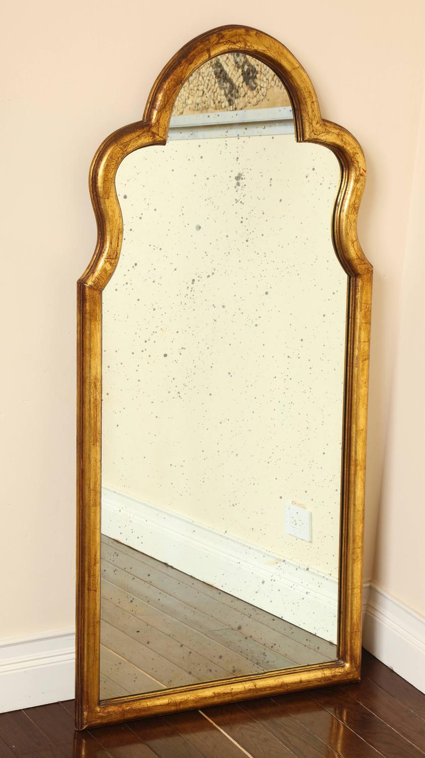 gilded queen anne inspired mirror with antiqued mirrored glass for sale at 1stdibs. Black Bedroom Furniture Sets. Home Design Ideas