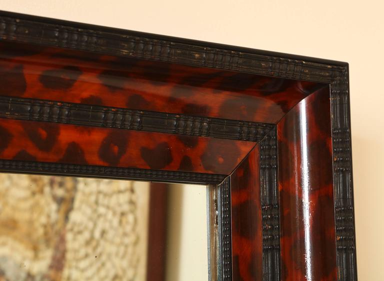 American Ebonized and Lacquered Faux Tortoise Shell Decorated Mirror Frame For Sale