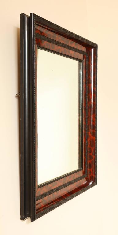 Ebony Ebonized and Lacquered Faux Tortoise Shell Decorated Mirror Frame For Sale