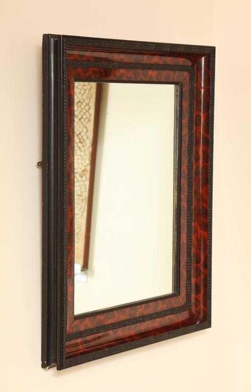 Ebonized and Lacquered Faux Tortoise Shell Decorated Mirror Frame For Sale 2