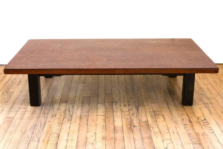 Japanese Lacquer Low Rectangular Coffee Table Raised On Square Straight Legs 2