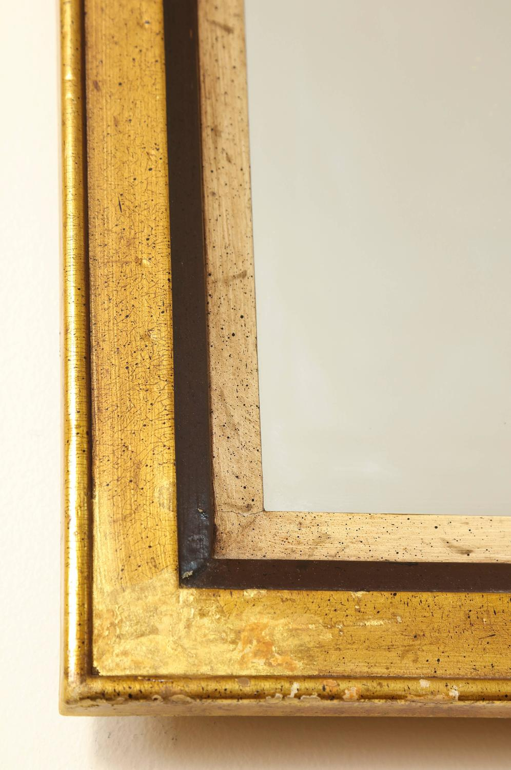 Mid century modern tall gold and painted black mirror with for Tall gold mirror