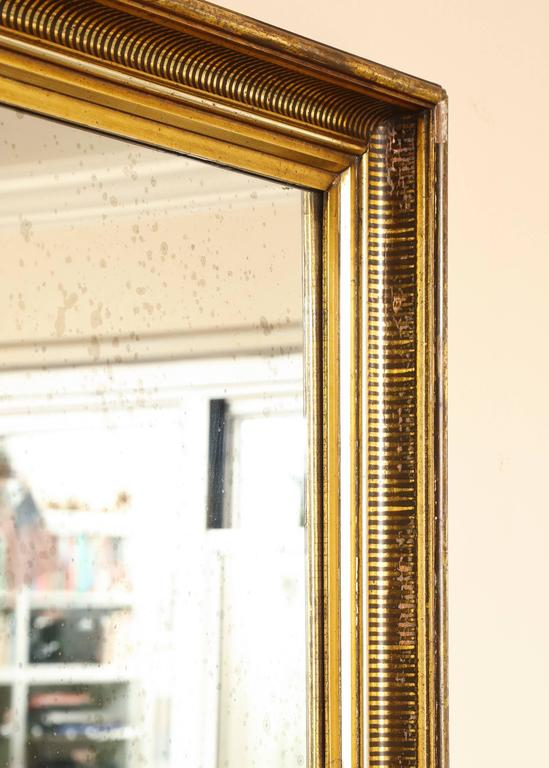 Gilded Mirror Frame With Painted Black Striped Molding And