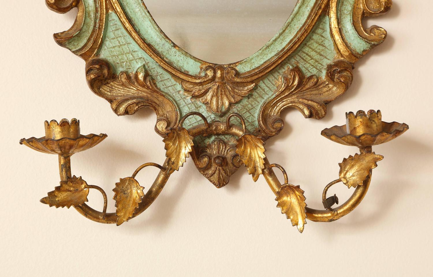 Venetian Wall Sconces : Pair of Venetian Painted and Gilded Girandoles or Wall Sconces, Two Candlearms For Sale at 1stdibs